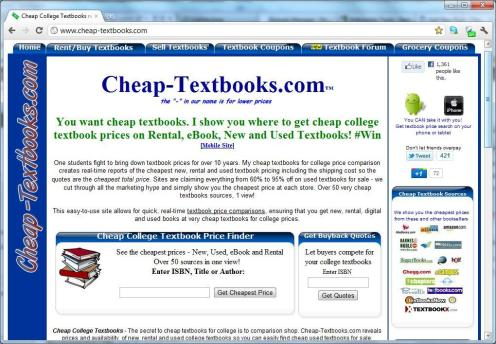 cheap college textbooks price comparison site